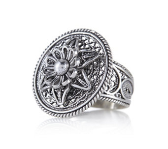 Ottoman Filigree Flower Ring Sterling Silver - 635718