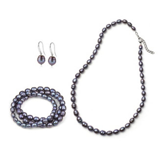 Honora Cultured Pearl Necklace Earrings & 3 Bracelets Set Sterling Silver - 690020