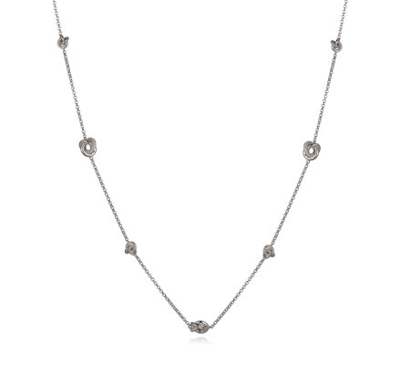 Diamonique 0.8ct tw Knot Station 86cm Necklace Sterling Silver