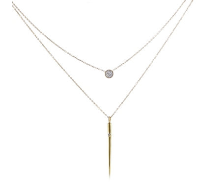 K by Kelly Hoppen Set of 2 Layering Necklaces 18ct Vermeil Sterling Silver