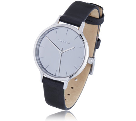 Skagen Ladies Mirror Dial Leather Strap Watch