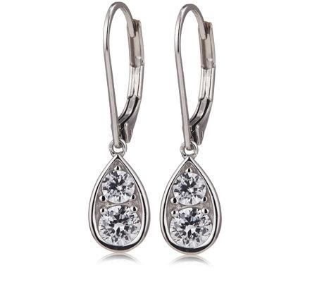 diamonique tw leverback drop earrings sterling
