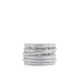 Diamonique 1.7ct tw Layered Pave Band Ring Sterling Silver - 698128