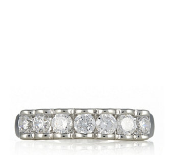 Diamonique 0.7ct tw 7 Stone Half Eternity Ring Sterling Silver - 617830