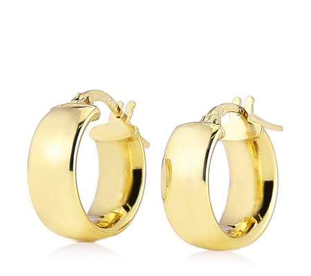9ct Gold Band Creole Earrings