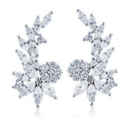 Diamonique 3.2ct tw Cascading Flower Earclimbers Sterling Silver