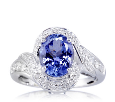 Outlet 1.8ct AAA Tanzanite & 0.2ct Diamond 18ct White Gold