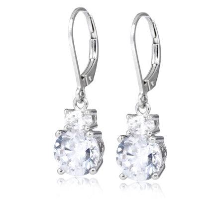 diamonique tw solitaire drop earrings sterling