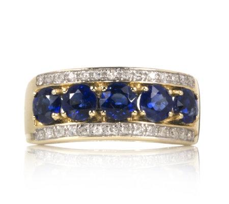 1 4ct Nepalese Kyanite & 0 1ct Diamond Band Ring 9ct Gold QVC UK