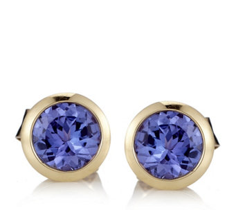 0.8ct AAAA Tanzanite Solitaire Stud Earrings 18ct Gold - 646643