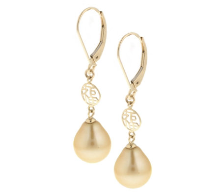 Cultured Fw Golden Pearl Chinese Symbol Drop Earrings 14ct G