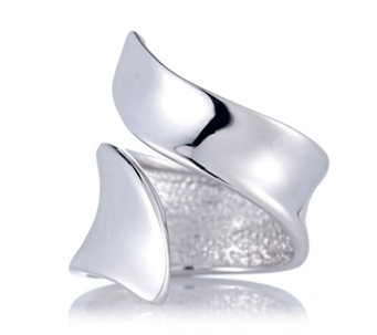 Bianca Platinum Plated Swerve Ring Sterling Silver - 698150