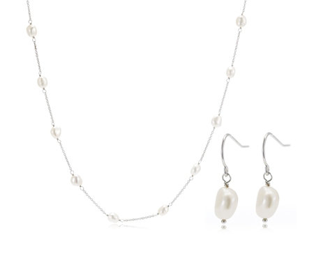 Honora 7-8mm Cultured Pearl 40cm Necklace & Earrings Set Sterling Silver