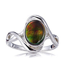 Canadian Ammolite Triplet Oval Ring Sterling Silver - 607052