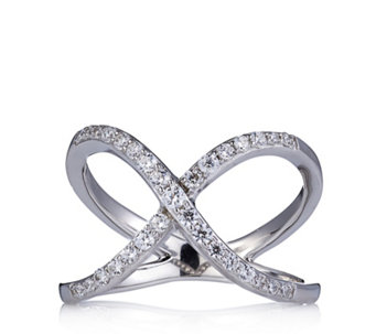 Diamonique 0.4ct tw Cross Over Ring Sterling Silver - 666154