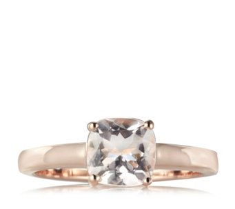 1.2ct Morganite Cushion Solitaire Ring Rose Gold Vermeil Sterling Silver - 663257