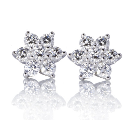 1ct Canadian Diamond 7 Stone Cer Stud Earrings 9ct Gold