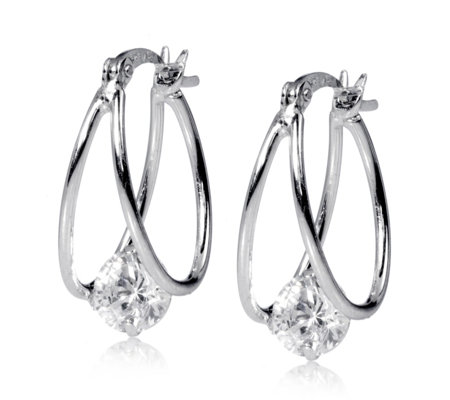 Epiphany Platinum Clad Diamonique 2ct Tw Floating Drop Earrings Sterling Silver