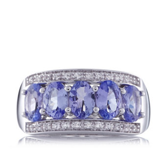 1.8ct Tanzanite & White Topaz Band Ring Sterling Silver - 656863