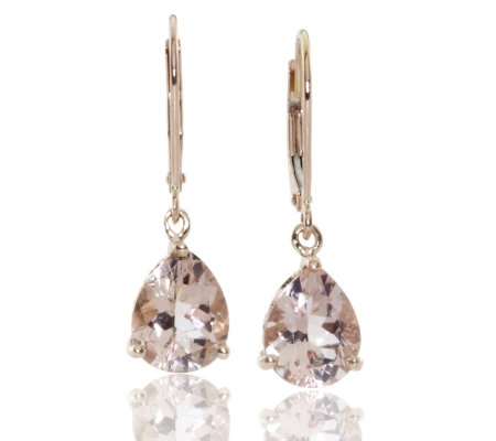 3 5ct Mozambique Morganite Drop Earrings 9ct Rose Gold