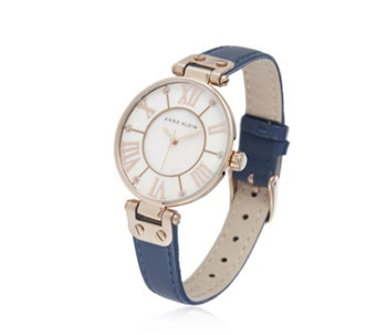 Anne Klein The Signature Mother of Pearl Leather Strap Watch - 664765