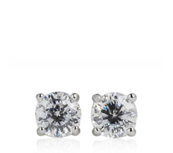 Diamonique 1ct tw 100 Facet Stud Earrings Sterling Silver - 662666