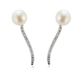 Honora 8-9mm Cultured Pearl Cubic Zirconia Earrings Sterling Silver - 677966