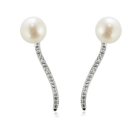 Honora 8-9mm Cultured Pearl Cubic Zirconia Earrings Sterling Silver