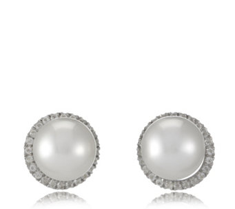 10-11mm South Sea Cultured Pearl & White Topaz Earrings Sterling Silver - 655669