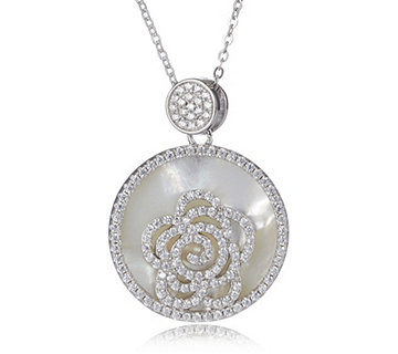 Diamonique by Tova 1ct tw Mother of Pearl Pendant & Chain Sterling Silver - 655672