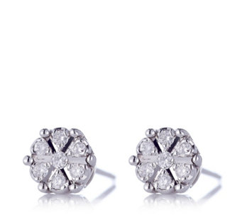 0.1ct Diamond Solitaire Miracle Set Stud Earrings 9ct White Gold - 662072