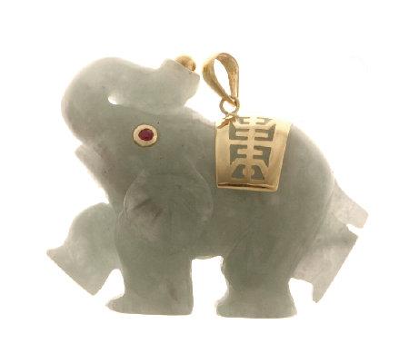 Green jade elephant ruby accent pendant 14ct gold qvc uk green jade elephant ruby accent pendant 14ct gold aloadofball Gallery