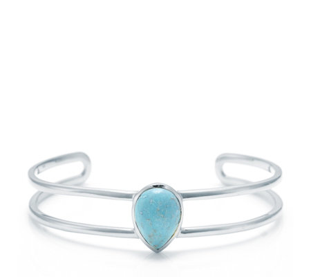 American Turquoise Statement Cuff Bracelet Sterling Silver