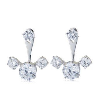 Michelle Mone for Diamonique 7ct tw Jacket Earrings Sterling Silver - 664076