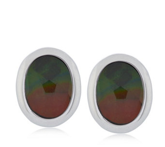 Canadian Ammolite Triplet Oval Stud Earrings Sterling Silver - 664878