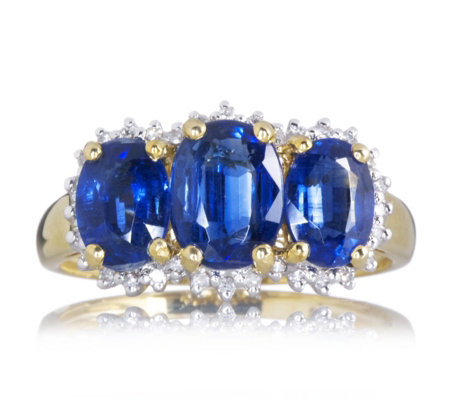 2.9ct Nepalese Kyanite 3 Stone Ring with 0.1ct Diamond 9ct Gold