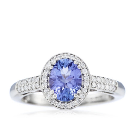 1ct AAA Tanzanite & 0.3ct Diamond Millennium Cut Platinum Ring