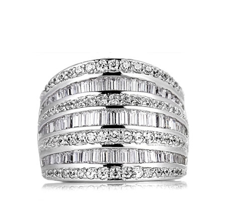 Platinum Plated Diamonique 2.1ct tw Alison Young Anniversary Ring