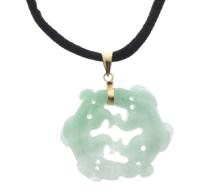 Carved jade pendant on silk cord 14ct gold qvc uk carved jade pendant on silk cord 14ct gold aloadofball Images