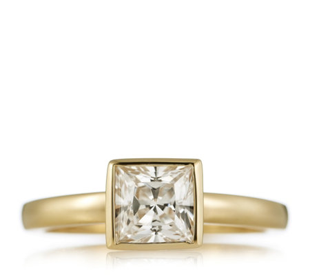Diamonique 3ct tw Bezel Set Princess Cut Ring Gold Plated Sterling Silver