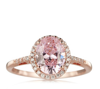 Diamonique 2.1ct tw Simulated Gemstone Rose Gold Ring Sterling Silver - 655785