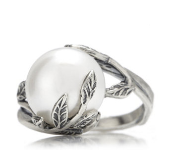 Or Paz Pearl Solitaire Leaf Detail Ring Sterling Silver - 659386