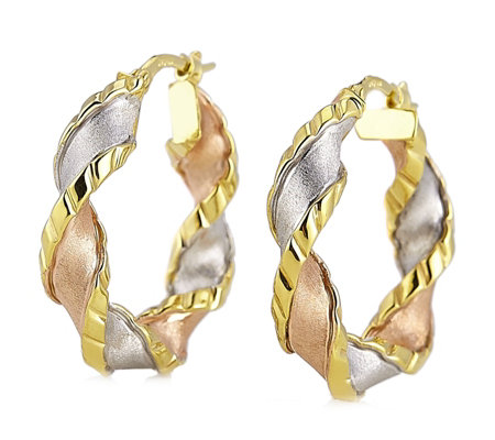 9ct Gold 3 Colour Twist Hoop Creole Earrings