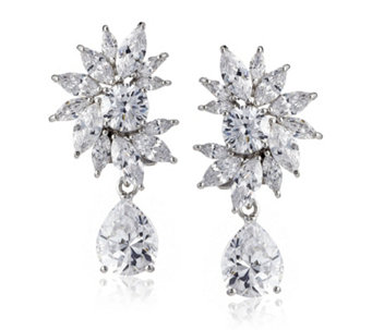 Diamonique by Tova 17ct tw Oscar Drop Earrings Sterling Silver - 641189