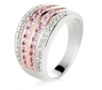 Diamonique 0.9ct tw Pink & White Band Ring Sterling Silver - 609790
