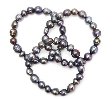 Honora 9-11mm Cultured Baroque Pearl Set of 3 Stretch Bracelets