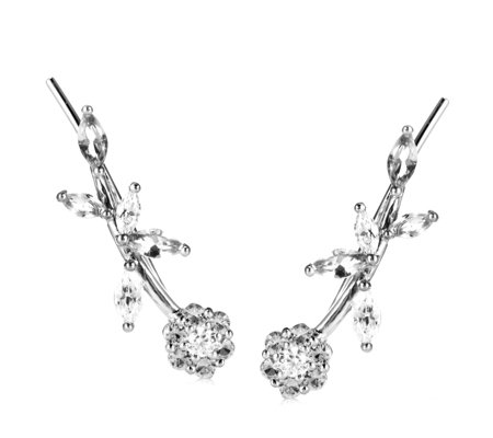 Diamonique 1.9ct tw Flower Earclimbers Sterling Silver