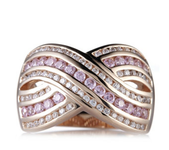 Diamonique 1.4ct tw Overlay Band Ring Rose Gold Plated Sterling Silver - 614392