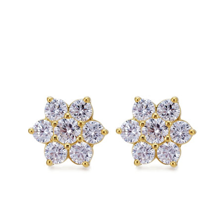 Diamonique 1.5ct tw Cluster Stud Earrings Sterling Silver