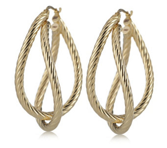 Bella Vita 18ct Gold Plated Double Hoop Earrings Bronze - 634597